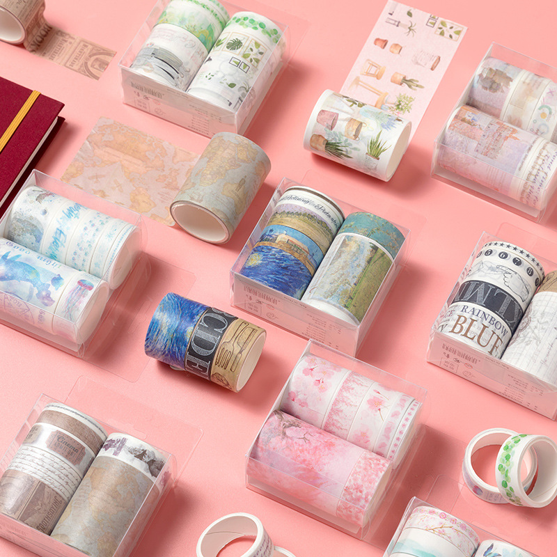 7pcs/set Cute Basic Color Old Days Washi Tape Scrapbook DIY Masking Tape School Stationery Store Bullet Journal Decor Supplies