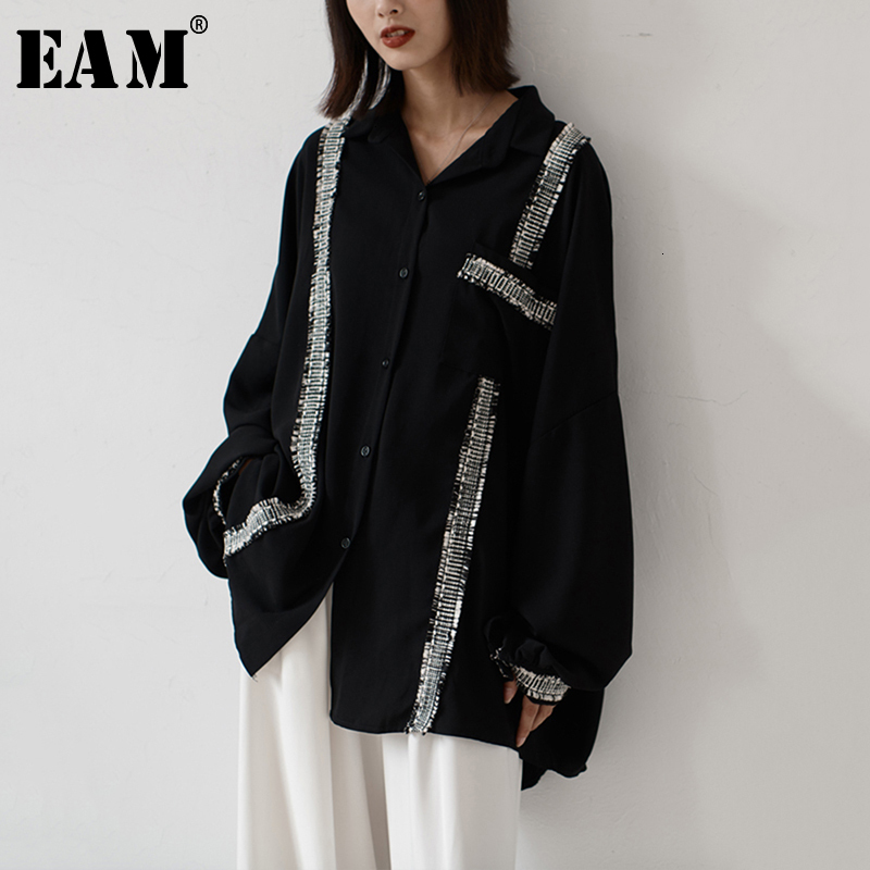 [EAM] Women Asymmetrical Split Big Size Blouse New Lapel Long Sleeve Loose Fit Shirt Fashion Tide Spring Autumn 2020 1H640
