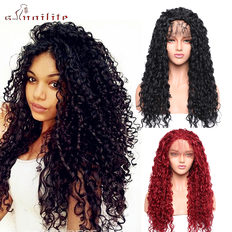 SNOILITE Kinky Curly Lace Front Wigs With Baby Hair Cosplay Party Wig Synthetic Hair Wig 12*3' Lace Wig  Black Red Wig For Women