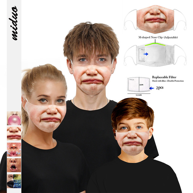 Fashion Reusable Protective PM2.5 Filter Printing Mouth Face Mask Anti Dust Mask Mouth-muffle Bacteria Proof Flu Mask Anime Mask