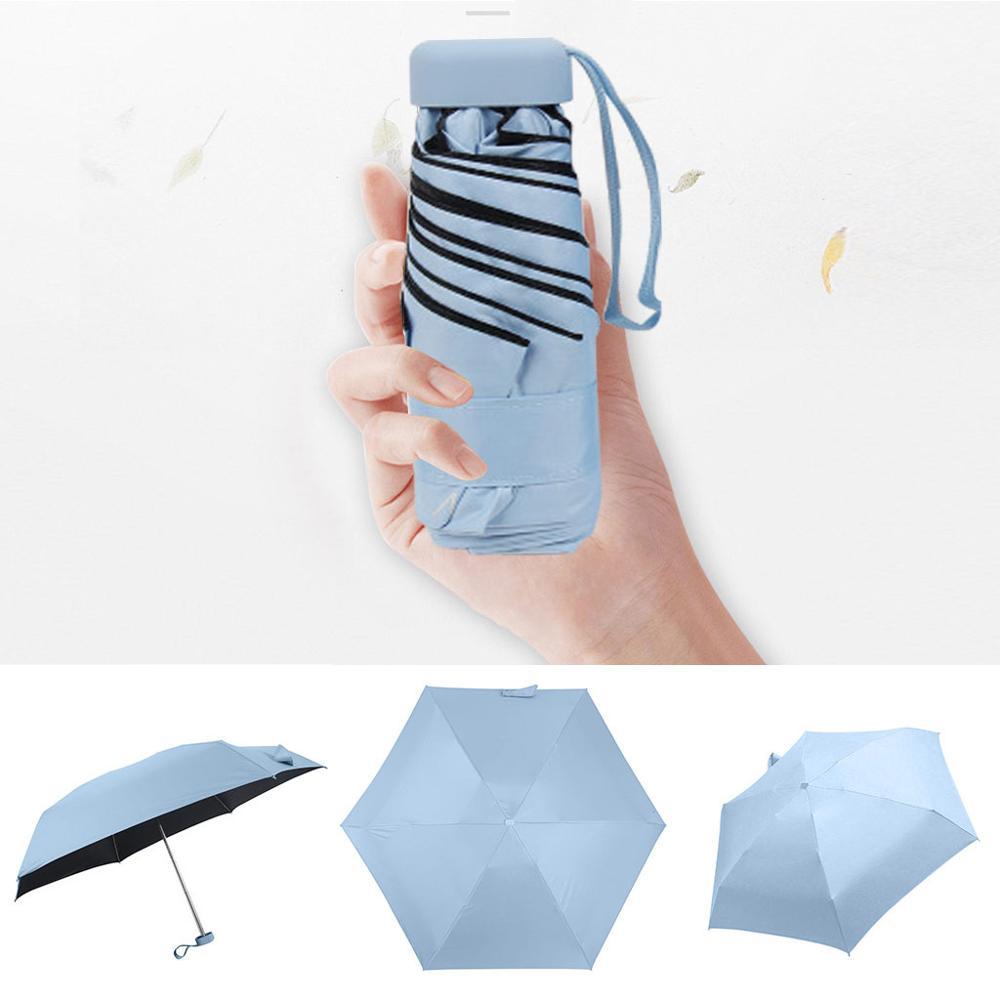 Мини-зонт, женский зонт, 5 раз, плоский светильник, Сумка с карманом и ультра-светильник, зонт, складной солнцезащитный зонтик, зонты Y1 - Цвет: SB
