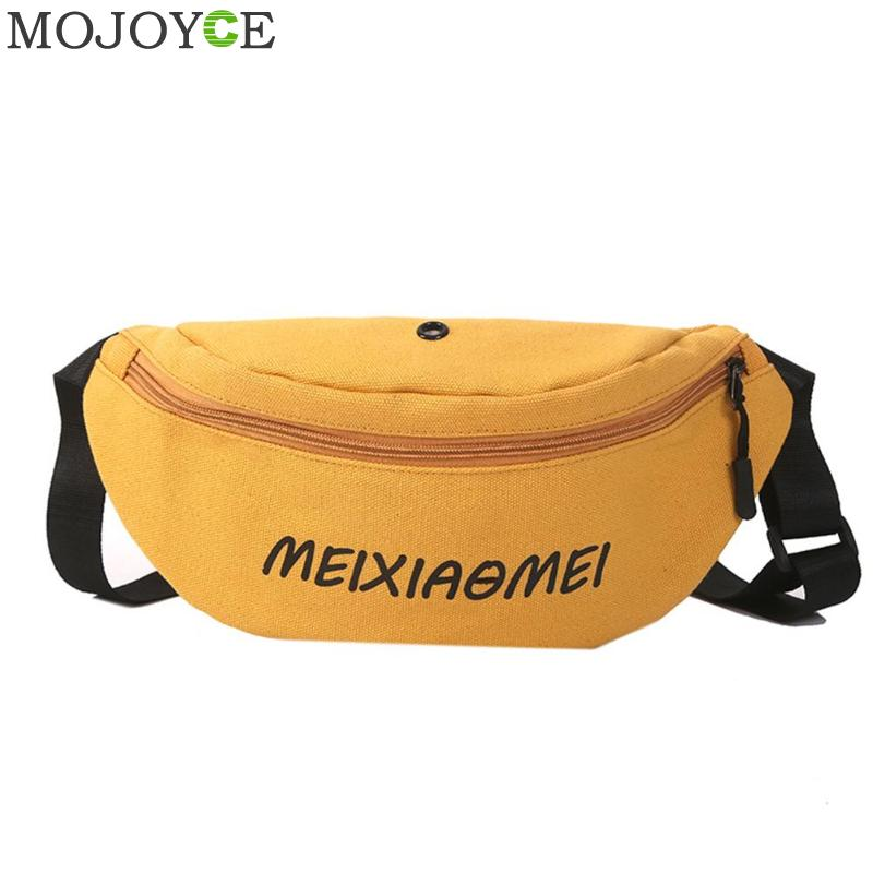 New Waist Bag Fanny Pack Women Belt Bags Trend Chest Packs Banana Bag Canvas Material Hip Hop Package Bum Pack Cell Phone Pocket