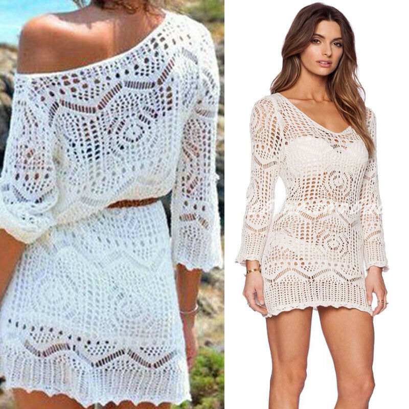 Women Bikini Cover Up Hallow Crochet Beach Wear Dress Summer Bathing Suit Blouse Summer Beach Sexy Floral Hollow Out Cover-ups