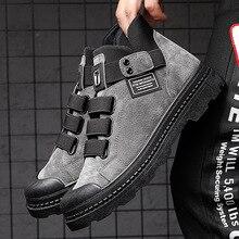 Мужские повседневные кожаные ботинки с высоким верхом, уличные ботильоны, мужские пригодные для носки мотоциклетные ботинки, мужские кросс...
