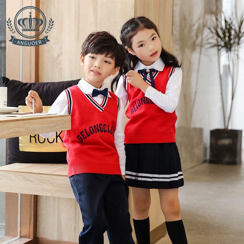 [Ann Fruit] Autumn And Winter New Style Kindergarten Suit Vest Three-piece Set-England College Style School Uniform