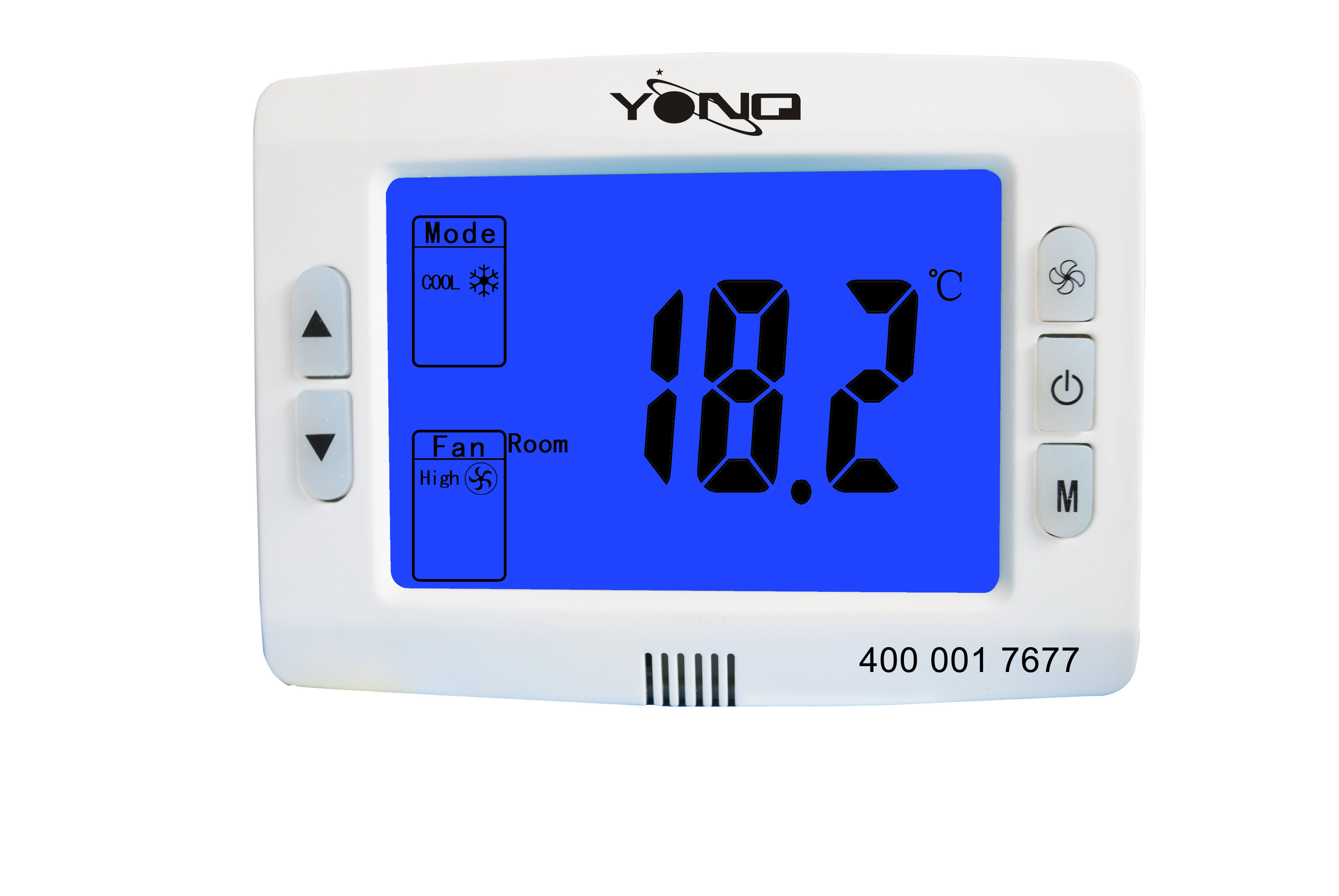 YKC510 Series, Large LCD Digital Thermostat, 220 VAC±10%, 2-pipe Thermostat For Fan Coil, Control 2 / 3 Line Valves