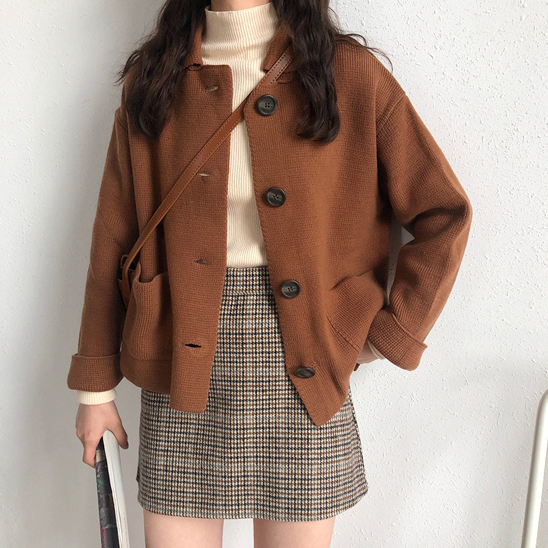3 Colors 2019 Autumn Korean Style Solid Color Turn Down Collar Knittd Cardigans Womens Sweaters Womens (X201)