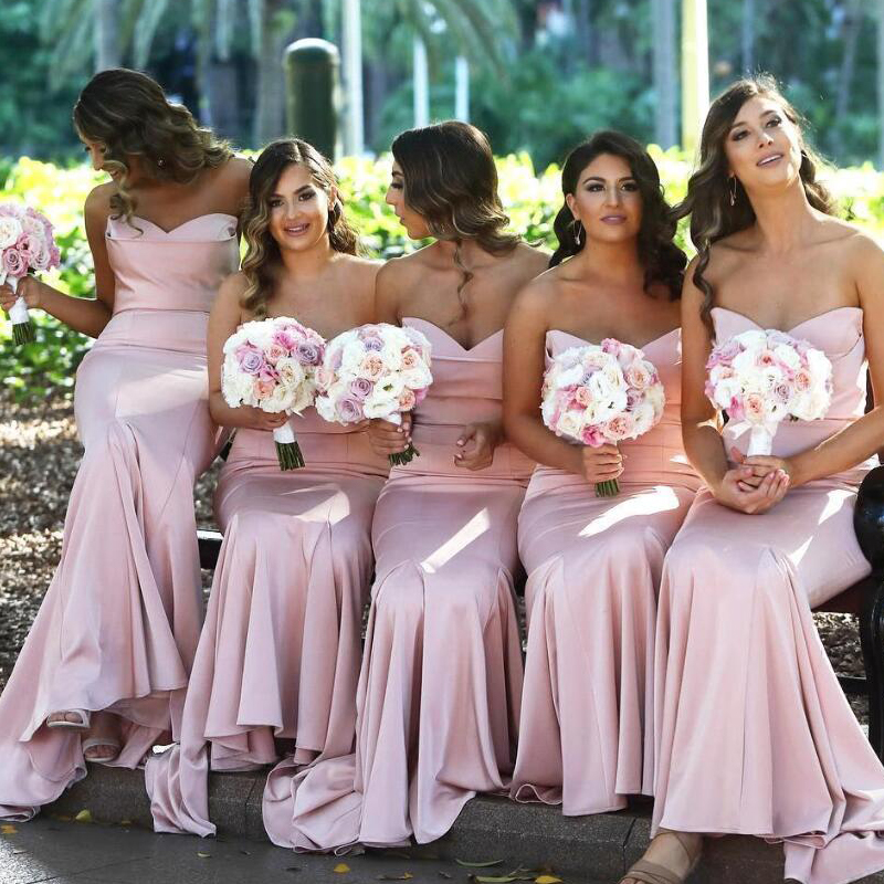 Blush Pink Sweetheart Satin Mermaid Long Bridesmaid Dresses Ruched Floor Length Wedding Guest Long Maid Of Honor Dresses