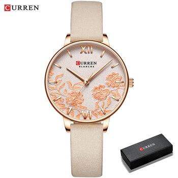 CURREN Women Watches Top Brand Luxury Stainless Steel Strap Wristwatch for Women Rose Clock Stylish Quartz Ladies Watch 16