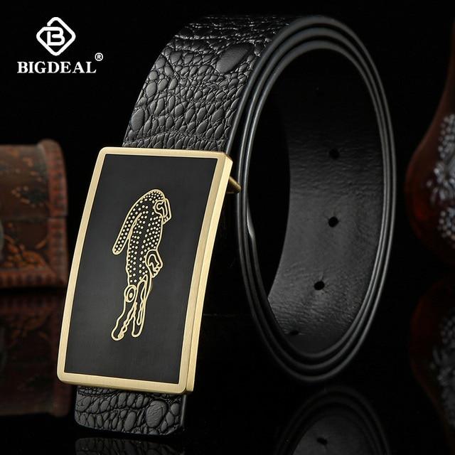 גברים של חגורת עור פרה חגורות מותג אופנה מוצק פליז חלק אבזם שחור אמיתי עור לגברים ג ינס עסקים 3.8cm