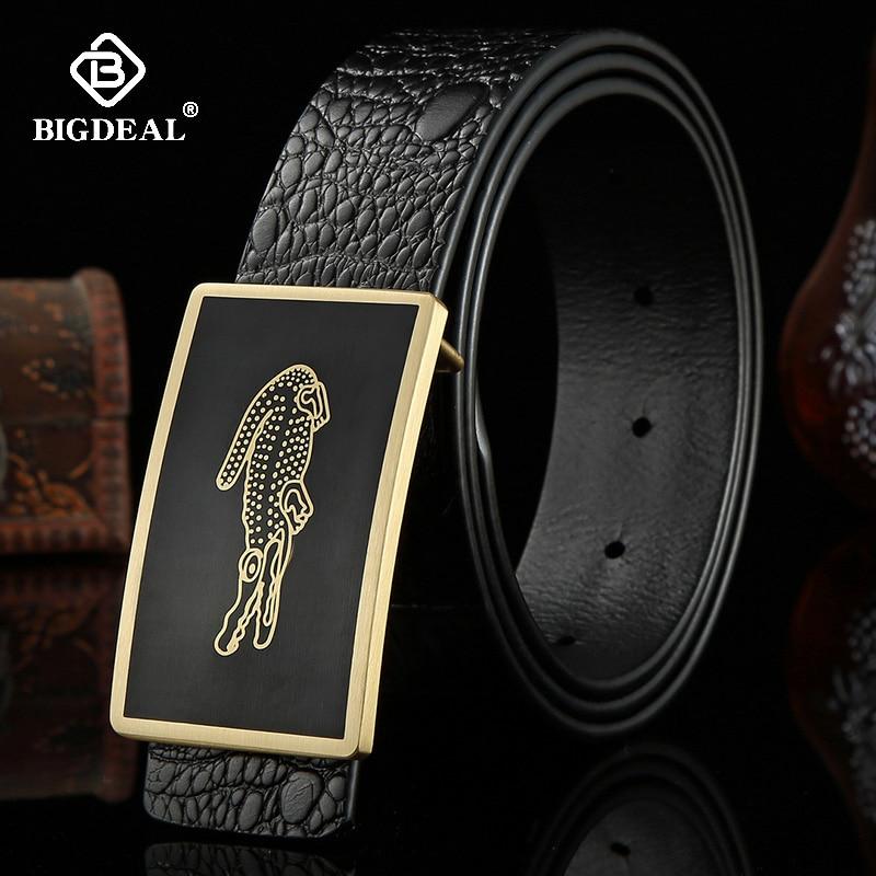 Mens Belt Cow Leather Belts Brand Fashion Solid Brass Smooth Buckle Black Genuine Leather Belts for Men Jeans Business 3.8cmMens Belts   -