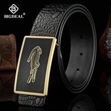 Mens Belt Cow Leather Belts Brand Fashion Solid Brass Smooth Buckle Black Genuine Leather Belts for Men Jeans Business 3.8cm
