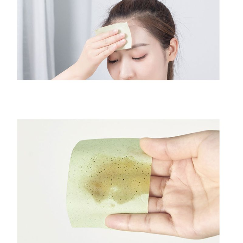100Pcs/Pack Disposable Oil Absorbing Face Paper Deep Cleansing Tissue Wipes Green Tea Bamboo Charcoal Makeup Beauty Random Type