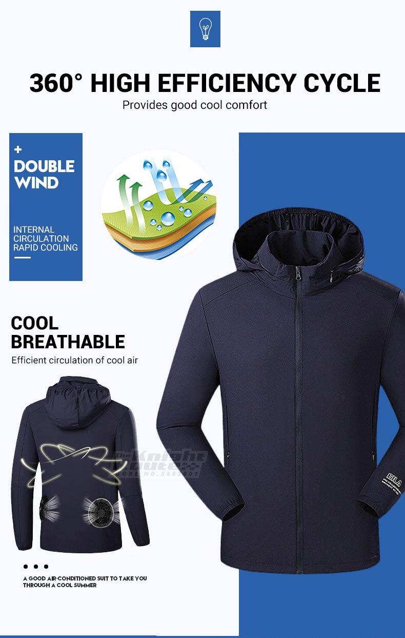 Verão ventilador de refrigeração jaqueta caminhadas jaqueta
