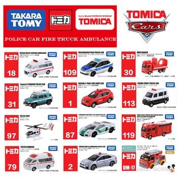 Tomica serie de coches de policía camión de bomberos ambulancia transporte construcción vehículo helicóptero Takara Tomy Diecast modelo