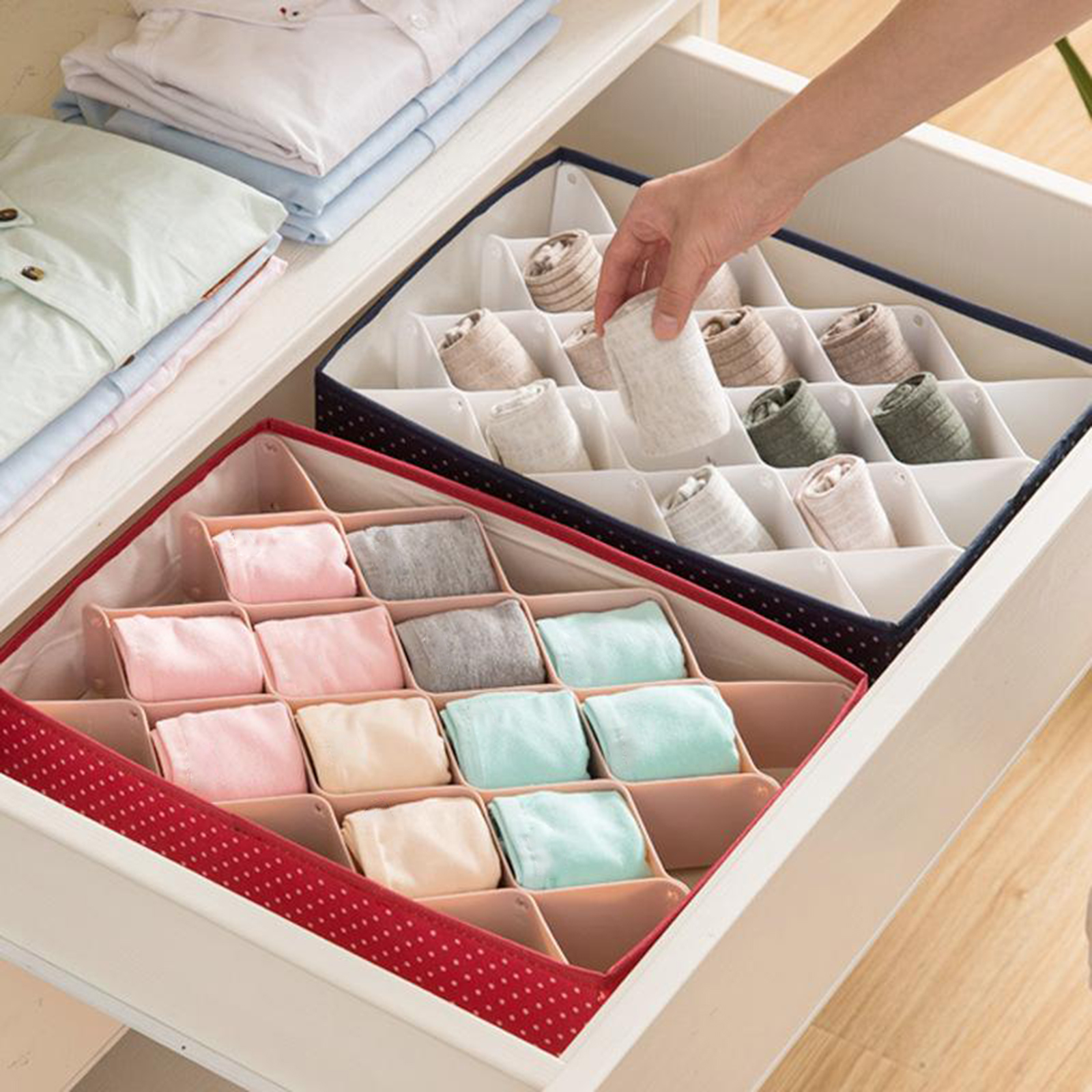 Foldable Storage Boxes Divide For Storing Socks Bras Scarves Organizer Box Storage Drawers Cloth Underwear Baskets
