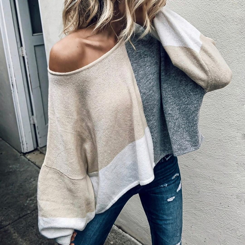 Autumn Winter Women Patchwork Sweater Long Sleeve Knitted Loose Pullover Top Oversized Sweaters Pull Femme Sueter Mujer Invierno