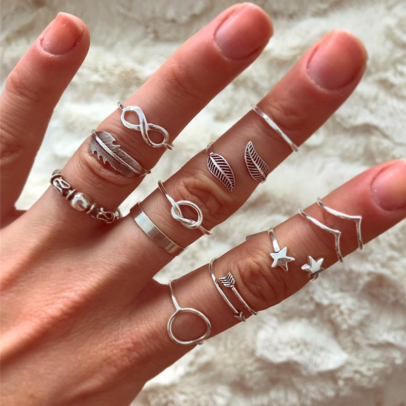Finger-Ring-Set Jewelry Feather-Arrow Star Silver-Color Women Gifts Leaf Charm Wave 12pcs/Set