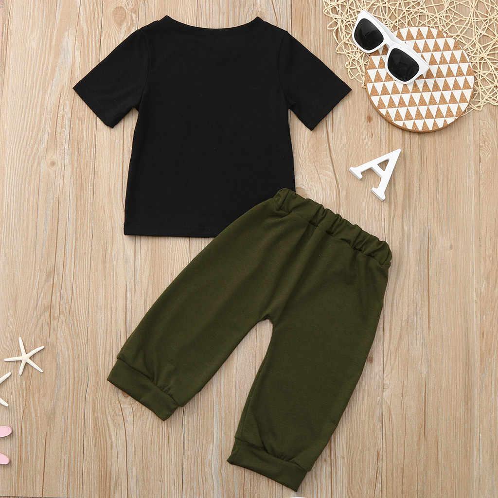ילדים פעוט תינוקות תינוק ילד קיץ בגדי שרוול קצר מכתב מודפס חולצה חולצות + מוצק מכנסיים תלבושות סט roupa menino