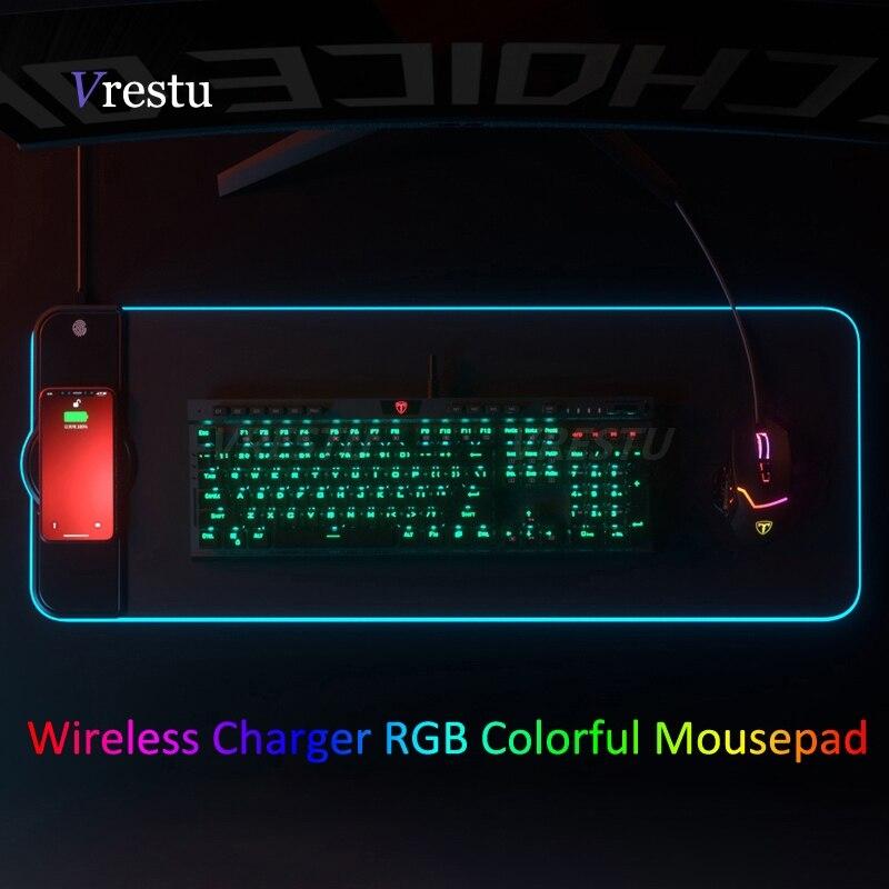 Wireless Charging Mouse Pad Gamer Mousepad Oversized RGB Luminous Desk Mat Computer Laptop Keyboard Non-slip Glowing LED Cushion 1