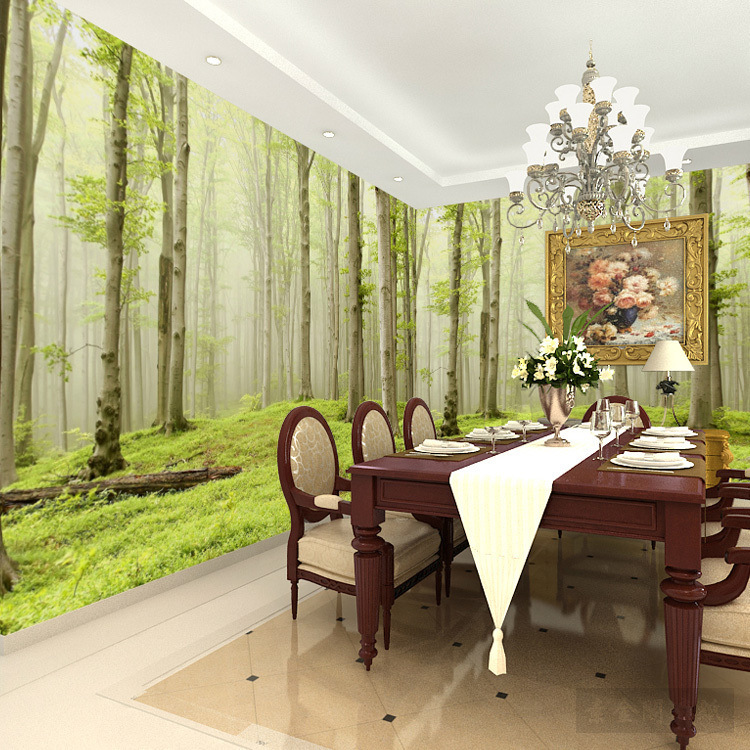 Living Room Green Seamless Wall Cloth Forest Color Scenery Wallpaper Bedroom Non-woven Wallpaper Sofa Wall Wallpaper Mural