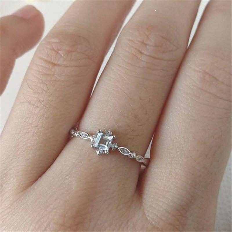 925 Sliver Color BlueTopaz Zircon Ring For Women Anillos Dainty Sparkling Cirle Wedding Gemstone Blue Bizuteria Jewelry Ring