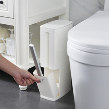 Narrow Bathroom Trash Can with Toilet Brush Toilet Trash Can with Lid Brush Trash Bag Storage Container Plastic Trash Can