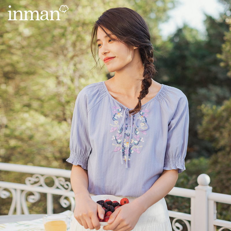 INMAN 2020 Summer New Arrival Pure Cotton Sweet Pullover Retro Embroidered Bowknot Half Sleeve Blouse