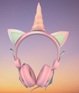 Image 4 - Mignon licorne filaire casque avec Microphone filles Daugther musique stéréo écouteur ordinateur téléphone Mobile Gamer casque enfants cadeau
