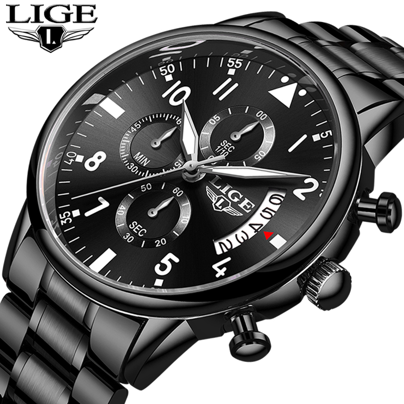 2020 LIGE New Mens Watches Top Brand Luxury Chronograph Waterproof Sports Automatic Date Quartz Watch For Men Relogio Masculino