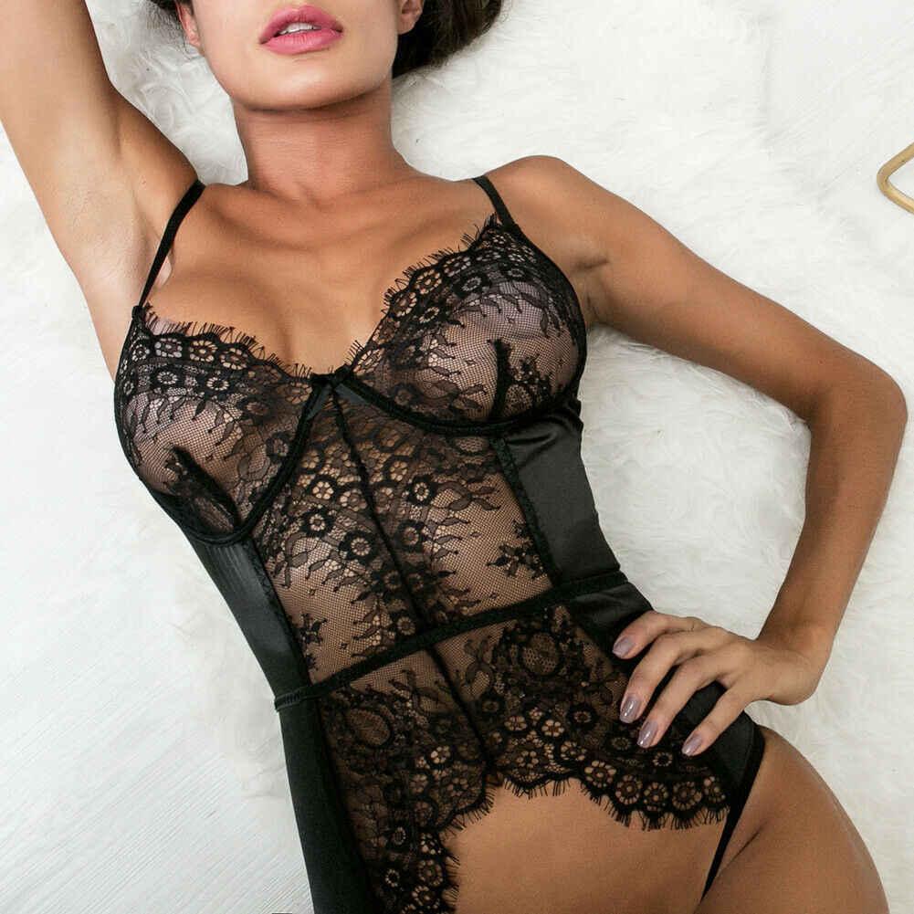 Vrouwen Sexy Lingerie Kanten Jurk Babydoll Dames Nachtkleding Ondergoed Nachtkleding Bodysuit Zwart Wit