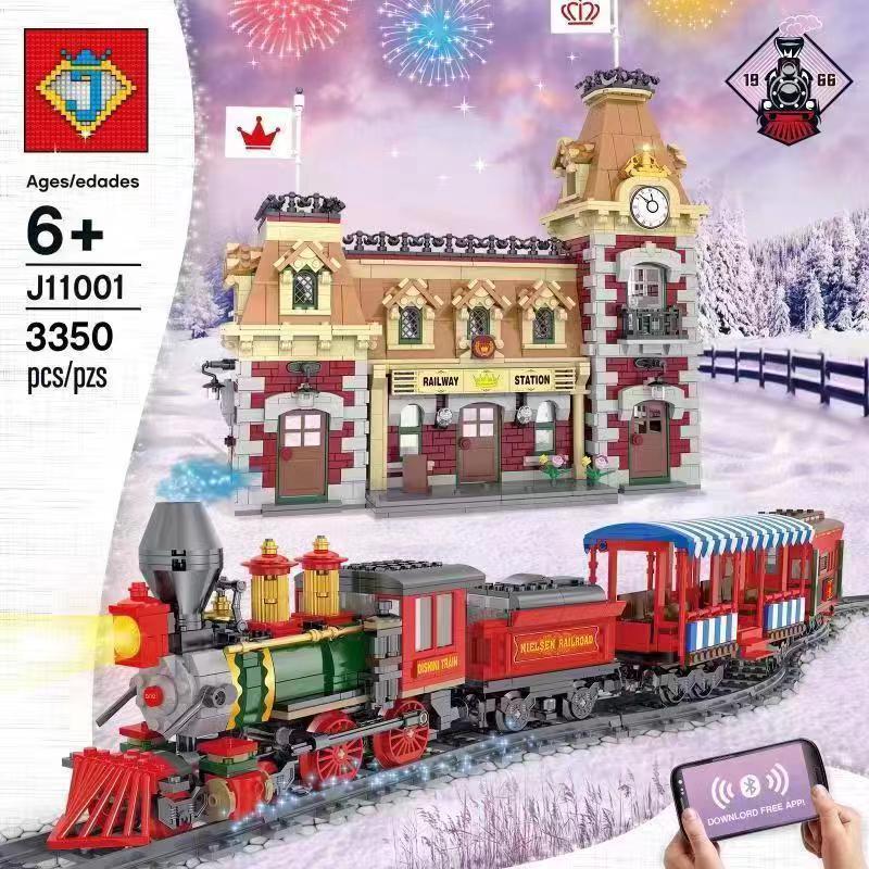 Lepinblocks RC DIsneyed Paradise Train And Station 71044 Princess Castle City Model Building Bricks Toy Christmas Gifts