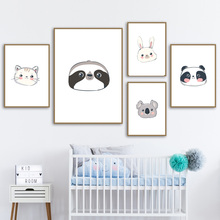 Cute Cartoon Koala Sloth Panda Rabbit Cat Nordic Posters And Prints Wall Art Canvas Painting Animals Pictures For Kids Room