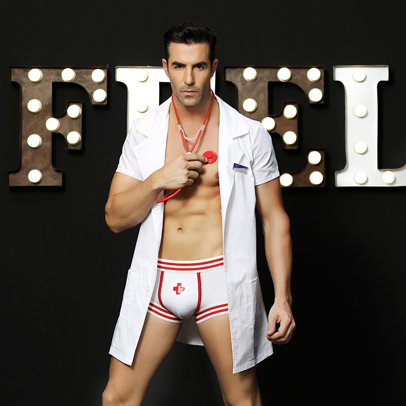 Men's Uniform Doctor Cosplay Sexy White Male Nurse Role Play Costume Coat Erotic Uniform Lingerie Sex Underwear Fancy Dress