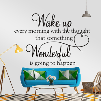 New Wake Up Every Morning With Thought That Something Wonderful Is Going Happen Quoted Bedroom Wall Stickers PVC Wall Decals image
