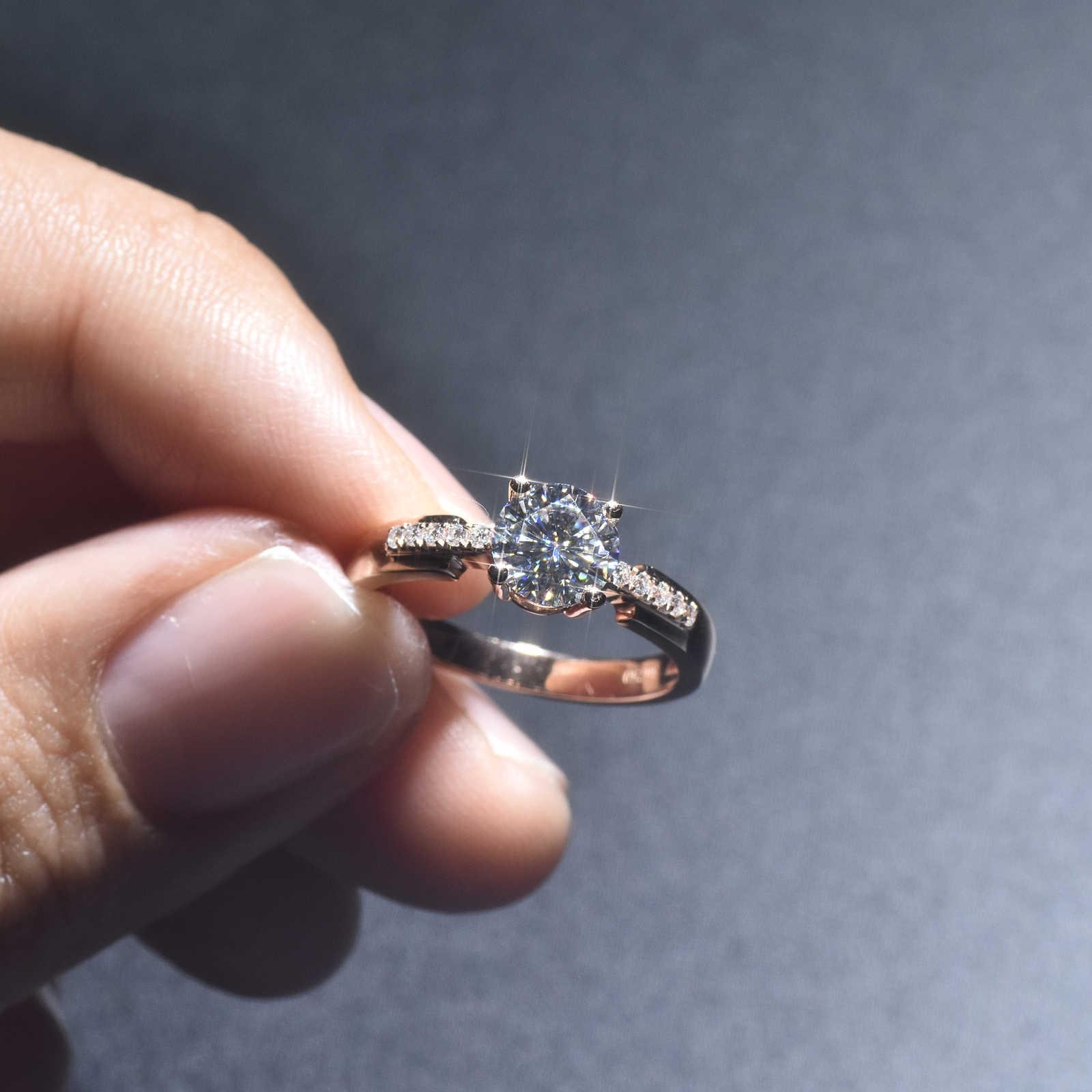 高級女性ソリティアラウンドジルコンリング 925 スターリングシルバーローズゴールド結婚指輪の約束愛の婚約指輪女性のための