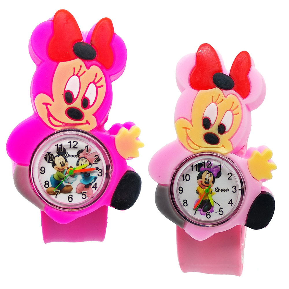 Montre Enfant 3D Mickey Toys Boys Watches For Kids Clock Pink Minnie Rubber Strap Girls Watch Children Christmas Gift For Kid