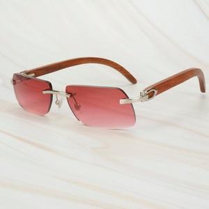 Image 3 - Wooden Retro Rimless Sunglasses Men Women Sun Glasses for Driving Fishing Luxury Carter Glasses Frame Wood Sunglasses for Male