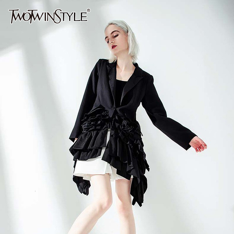TWOTWINSTYLE 2019 New Autumn Winter Lapel Long Sleeve Black Ruffle Pleated Stitch Loose Irregular Jacket Women Coat Fashion Tide