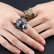 ring mens black gold Gothic Tiger stess Punk For Men Retro Male dainty Stainless Steel Ring male accessories fashion men jewelry(China)