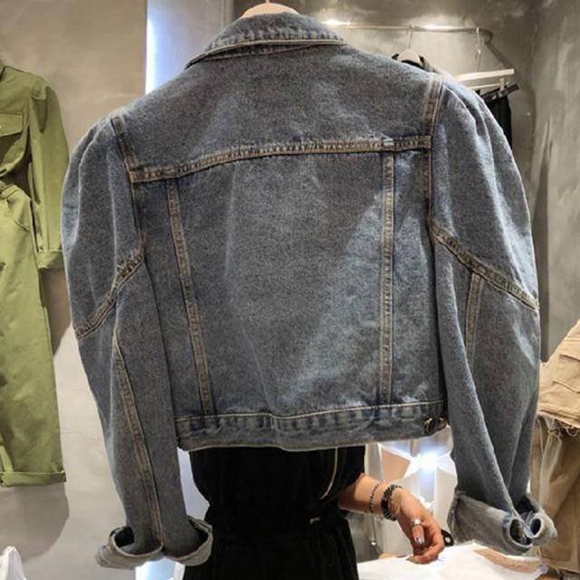 [EWQ] 2021 Autumn New Puff Sleeve Women Blue Turn-down Collar Short Coats Laides Loose Casual Overcoats 16Q57705 4