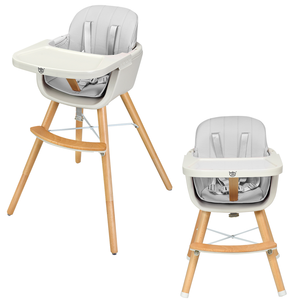 3 In 1 Convertible Wooden High Chair Baby Toddler Highchair W/ Cushion Gray