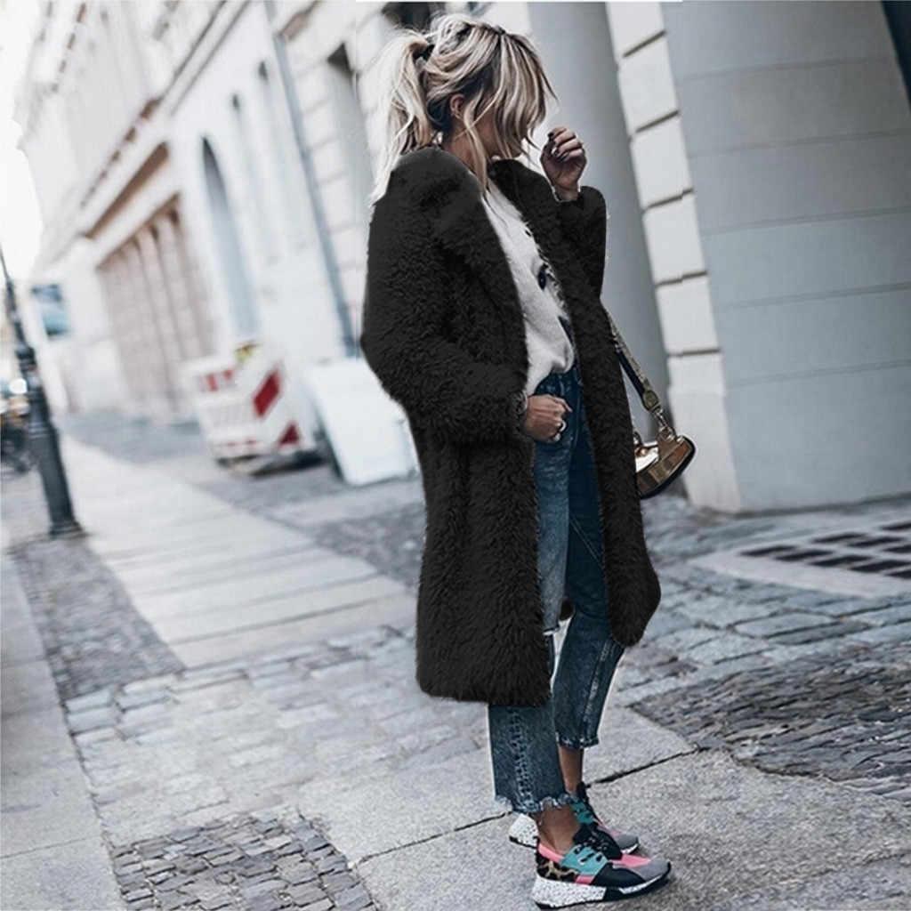 KANCOOLD Mantel Gaya Minimalis Hangat Wol Buatan Pakaian Kerah Gaya Panjang Musim Dingin Baru Mantel dan Jaket Wanita 2019Sep24