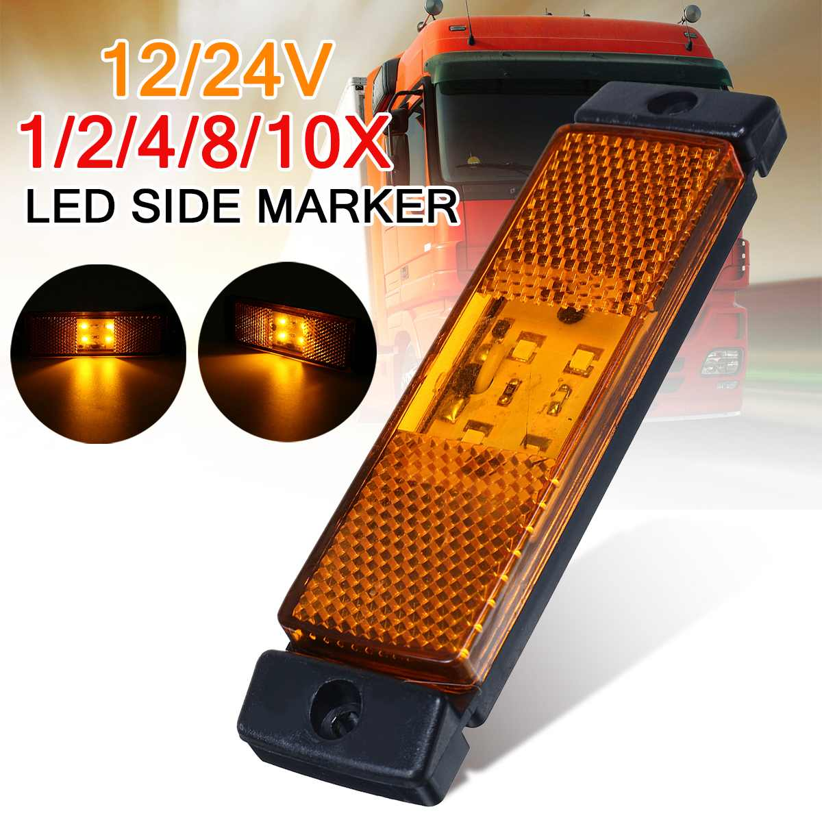 8 X 4LED Lights Trailer Truck Lorries Indicator Light Amber Lamp Side Marker 24V