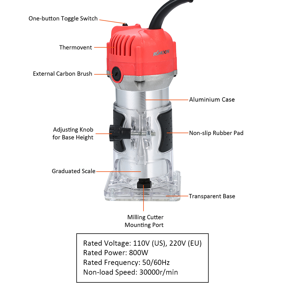 Image 4 - 220V 800W Electric Trimmer Handheld Laminate Edge Trimmer Collet Wood Router Woodworking Milling Engraving Slotting Machine-in Electric Trimmers from Tools on