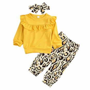 AA Lovely Toddler Baby Girl Outfit Ruffle Long Sleeve T-Shirt Tops Leopard Pants Leggings Headband Clothes Set Newborn Baby Set 1 5t toddler kids baby girl clothes set long sleeve ruffle tops denim skirt dress set elegant summer fashion outfit set