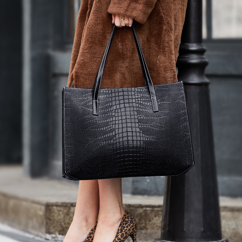 ZOOLER 2019 high quality soft Cow Leather Women Handbags Large Capacity Shoulder Bag black handbag For Women Tote Bag#2109