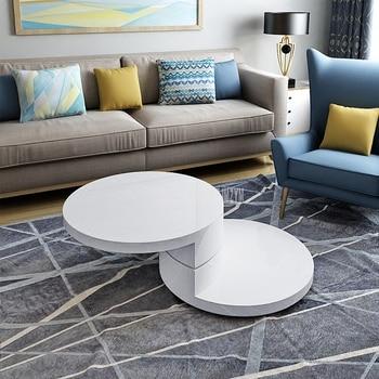 80cm Modern Round Rotatable Tea Table Wood Living Room Sofa Side Tea Table 360 Degree Rotatable Fashion Home Furniture White L фото