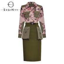 SEQINYY Conjunto de oficina para mujer, diseño de flores a la moda, Camisa estampada bolsillos, verde militar ajustada, falda hasta la rodilla 2020