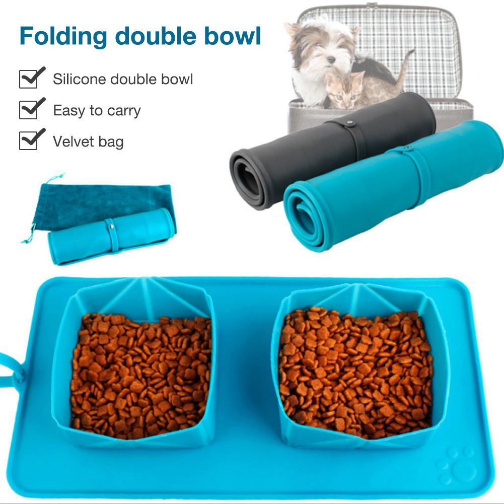 Foldable Pet Bowl Mat Silicone Mat Dog Cat Drinking Bowl Water Food Feeding Mat Portable Travel Double Bowl Dog Feeding Carpet